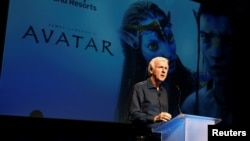 "FILE - Director James Cameron announce a long-term agreement which will bring ""Avatar""-themed lands to Disney parks as he speaks at a media briefing in Glendale, Calfornia, Sept. 20, 2011."