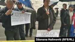 Ratni veterani Armije RBiH i HVO-a ispred Parlamenta Federacije BiH, 17Apr2018
