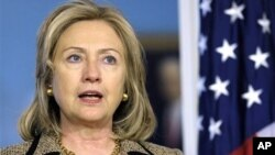 U.S. Secretary of State Hillary Rodham Clinton speaks during a news conference at the State Department, April 11, 2011