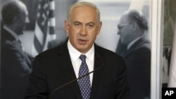 Israel's Prime Minister Benjamin Netanyahu during a visit to an exhibition marking 35 years since Egyptian president Anwar Sadat's visit to Israel, Menachem Begin Heritage Center, Jerusalem, Nov. 29, 2012.