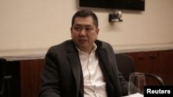 Hary Tanoesoedibjo saat berbicara kepada seorang wartawan di Trump International Hotel & Tower di Manhattan, New York, 18 Januari 2017.