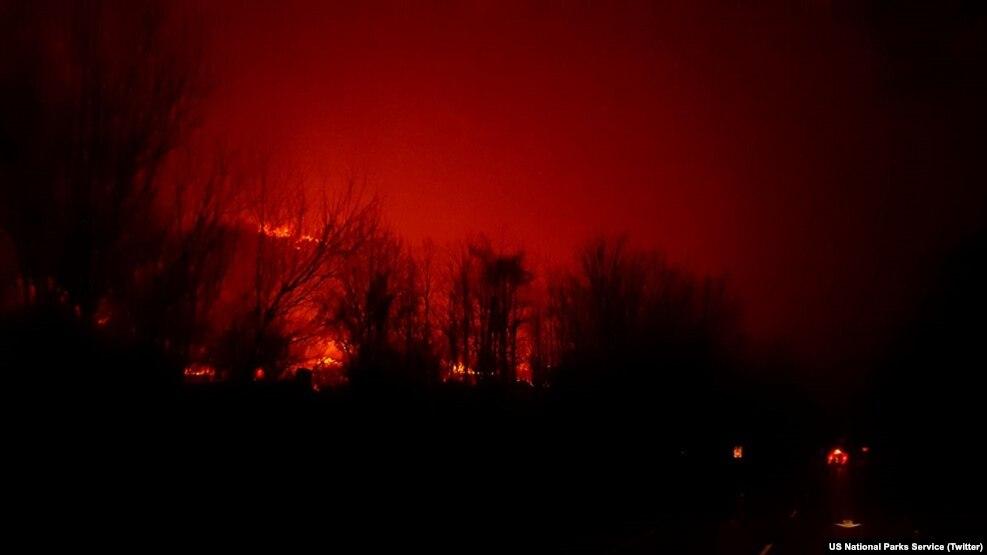Đám cháy tại Công viên Quốc gia Núi Great Smoky, ngày 29 tháng 11 năm 2016.