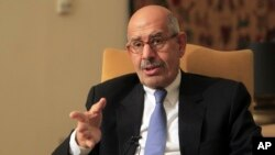 FILE - Former director of the U.N.'s nuclear agency and Nobel peace laureate Mohamed ElBaradei speaks during a news conferencein Cairo, Jan. 28, 2013.