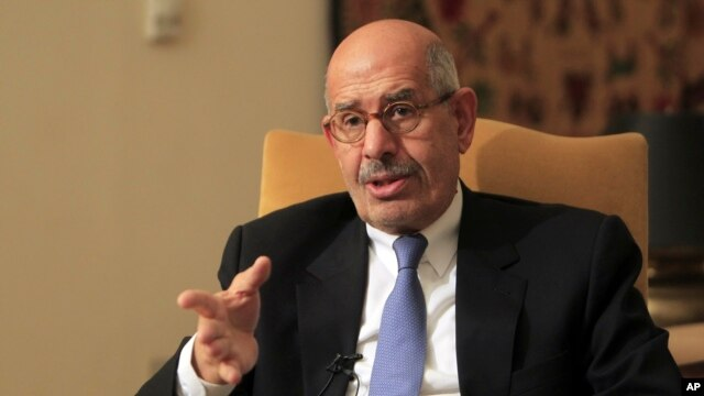 Former director of the U.N.'s nuclear agency and Nobel peace laureate Mohamed ElBaradei speaks during a news conference following the meeting of the National Salvation Front, Egypt's main opposition coalition, in Cairo, Jan. 28, 2013.