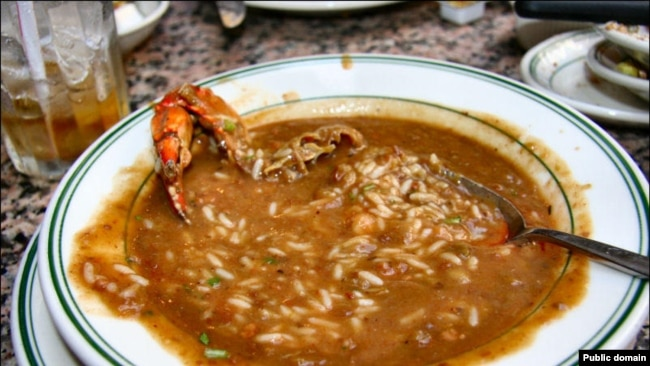 Gumbo is considered the official dish of Louisiana. The dish has an okra and tomato sauce base and typically contains seafood, sausage, rice and spices..