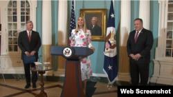 美国国务卿蓬佩奥和总统顾问伊万卡6月25日发布2020年人口走私报告。