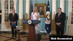 Embaixador John Richmond, conselheira presidencial Ivanka Trump e secretário de Estado Mike Pompeo, junho de 2020
