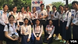 Menh Sok Searn, center, is one of STEM Ambassadors in Cambodia. (Courtesy photo)