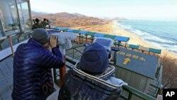Observatorio en Corea del Sur, desde donde el público esperaba ver el lanzamiento de un cohete en Corea del Norte.