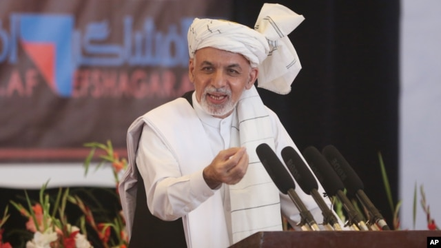 FILE - Afghanistan's President Ashraf Ghani speaks to religious leaders during an anti-corruption conference at Amani high school in Kabul, Afghanistan, Sept. 1, 2015. For Afghanistan, entrenched corruption is resulting in donor fatigue.