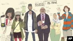 Karakter-karakter komik Ms. Marvel, dari kiri ke kanan: Kamala Khan, abangnya Aamir, ayah Yusuf, ibu Disha, dan temannya Bruno. (AP/Marvel Comics)