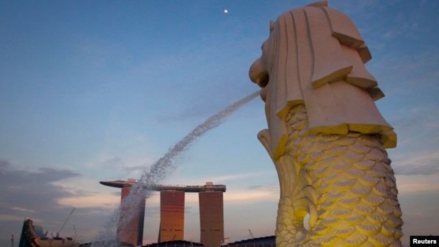 FILE - The Merlion statue overlooking the Marina Bay area. All of the suspected terrorists -- one of them 15 years old -- were from the main island of Java.