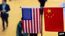 資料照:2018年11月上海國際進口博覽會上的美中國旗