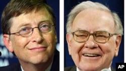 Milyarder AS, Bill Gates (kiri) dan Warren Buffet berada di urutan pertama dan ketiga daftar orang terkaya di dunia versi majalah Forbes 2016 (foto: dok).