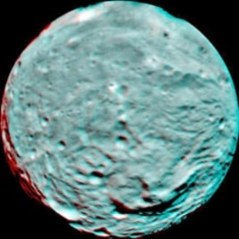 This anaglyph image of the south polar region of the asteroid Vesta was put together from two clear filter images taken on July 9, 2011 by NASA's Dawn spacecraft. The image shows the rough topography in the south polar area, the large mountain, impact cra
