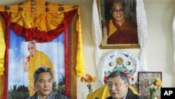 Envoys of the Dalai Lama, Lodi Gyari, right, and Kelsang Gyaltsen, speaks to the media in Dharmsala, India, Saturday, July 5, 2008. The envoys who met up with Chinese counterparts in Beijing for the seventh round of formal dialogue, said the latest round