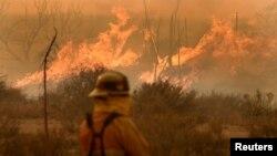 A firefighter watches fire in the San Bernardino National Forest in San Bernardino County, California, U.S. August 16, 2016. REUTERS/Gene Blevins