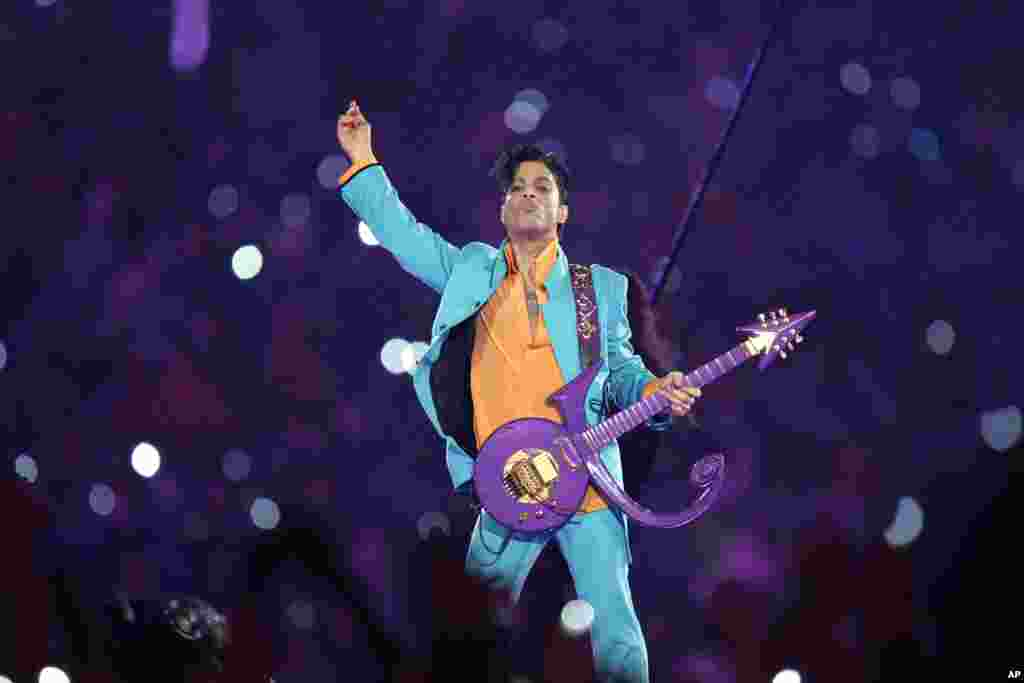 Prince performs during the halftime show at the Super Bowl XLI football game at Dolphin Stadium in Miami, Florida, Feb. 4, 2007.