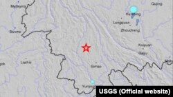 Letak gempa di Propinsi Sichuan, China Barat (Peta: USGS)