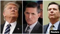 FILE - From left, President Donald Trump, former White House National Security Advisor Michael Flynn, FBI Director James Comey.
