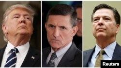 De izquierda a derecha, el presidente Trump, Michael Flynn y James Comey.