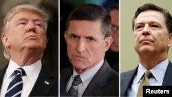 도널드 트럼프(왼쪽부터) 미국 대통령과 '러시아 내통' 의혹으로 사퇴한 마이클 플린 전 백악관 국가안보보좌관, 관련 사건 수사중 해임된 제임스 코미 전 연방수사국(FBI) 국장.