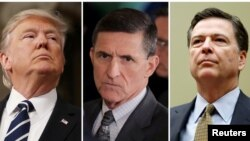 FILE - From left, President Donald Trump, former White House National Security Advisor Michael Flynn, former FBI Director James Comey.