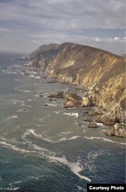 This is a photo of Drake Bay. The terrain up in Oregon looks very similar and, of course, Sir Francis Drake didn't know where he'd landed relative to future US state boundaries. (National Park Service)