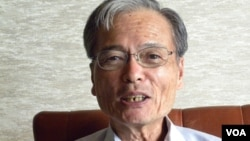 日本国际善邻协会理事田畑光永认为,中国可能也反省了在历史和领土问题上的反弹做得太过(美国之音歌篮拍摄)