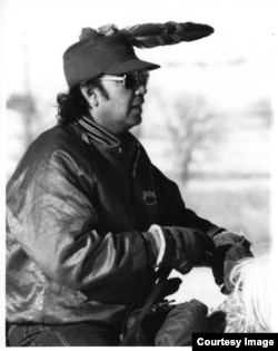 Photo of former president of the Oglala Lakota Nation Alex White Plume, taken during the second annual Big Foot Memorial Ride,1987. Courtesy: S. Ramona White Plume