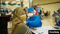 Vaksinasi ibu hamil yang diselenggarakan di Universitas Gadjah Mada, Yogyakarta, pada Kamis (19/8). (Foto: Humas UGM)