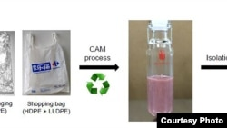 A novel chemical process converts post-consumer polyethylene plastic bottles, bags, and films into liquid fuels and waxes.