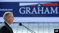 美国南卡罗来纳州的共和党籍参议员格雷厄姆2015年6月1日在对支持者宣布将角逐本党的2016年总统候选人提名