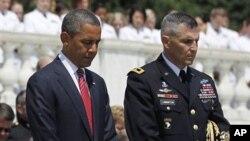 美國總統奧巴馬在阿靈頓國家公墓參加陣亡將士紀念日紀念儀式。