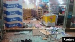 地震发生后,伊拉克东部城市哈拉布贾一个商店损毁严重。(2017年11月12日)