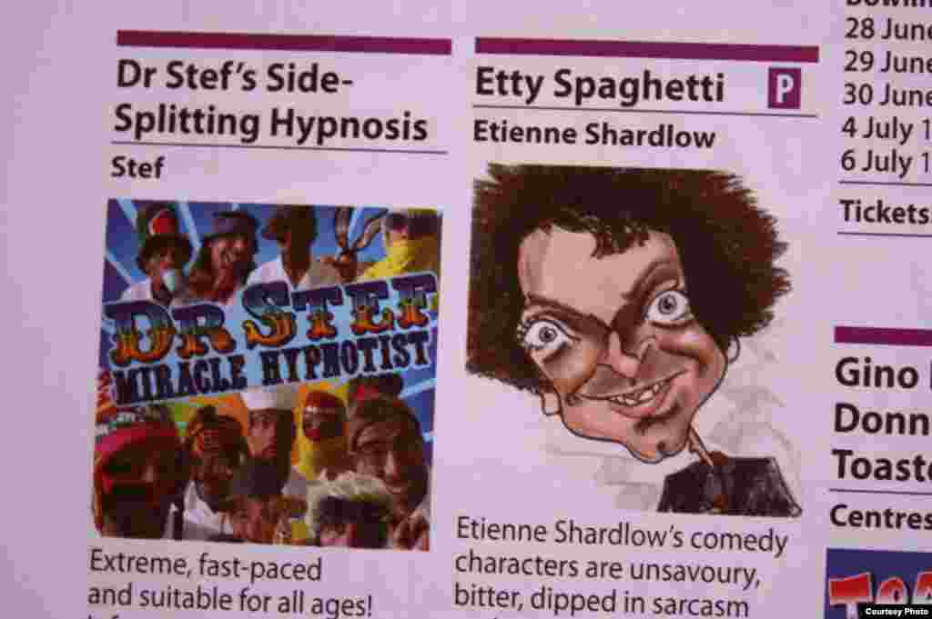 An advertisement for Shardlow's 'Etty Spaghetti' show (Courtesy. E. Shardlow)