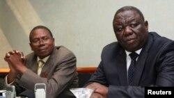 Umkhokheli webandla le MDC-T, uMnu. Morgan Tsvangirai eloMnu. Simba Makoni owebandla le Mavambo/Dawan/Kusile (MDK)