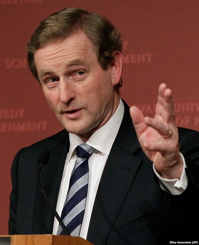 Irish Prime Minister Enda Kenny speaking at Harvard University, Thursday, Feb. 16, 2012
