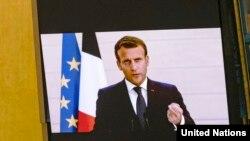 Macron BM Genel Kurulu'na video konferans aracılığıyla katıldı