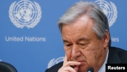 U.N. Secretary-General Antonio Guterres attends a press conference about climate change in New York, March 28, 2019.