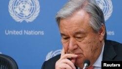 Sekretaris Jenderal PBB Antonio Guterres dalam konferensi pers mengenai perubahan iklim di New York, 28 Maret 2019.
