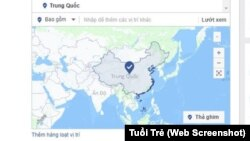 Bản đồ Facebook xác định chủ quyền hai quần đảo Trường Sa, Hoàng Sa thuộc Trung Quốc. (Ảnh chụp màn hình từ trang Tuổi Trẻ)
