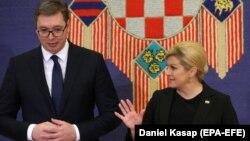Predsjednik Srbije Aleksandar Vučić i predsjednica Hrvatske Kolinda Grabar Kitarović u Zagrebu, 12. februar 2018.