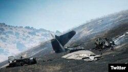 عکسی از هواپیمای سقوط کرده در غرب کالیفرنیا