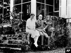 Franklin and Eleanor Roosevelt in Warm Springs, Georgia.