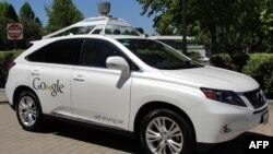 FILE - A Google self-driving car is seen in Mountain View, California, May 13, 2014.