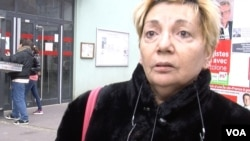 """Voter Maria Del Carmen called the National Front """"fascist,"""" speaking to VOA in Aubervilliers, a working class Paris suburb, Dec. 13, 2015. (Photo - L. Bryant/VOA)"""