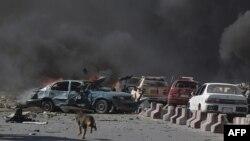 阿富汗喀布爾五月時汽車炸彈襲擊資料照。