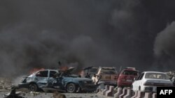 Sebuah ledakan besar melanda kota Kabul di saat jam sibuk pagi hari, 31 Mei 2017.