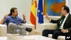 El presidente del gobierno, Mariano Rajoy, se reunió infructuosamente con Pablo Iglesias, líder del utlraizquierdista partido 'Podemos'.
